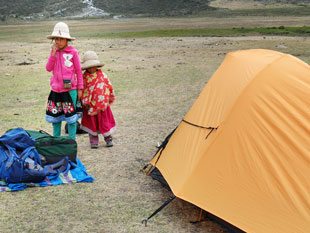 Local children come to study our tents