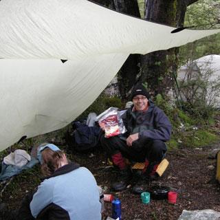 Dry spot for dinner. Rock Burn. New Zealand