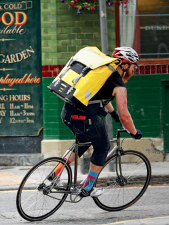 The Ortlieb Messenger Bag in action.