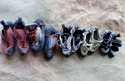 Stinky climbing shoes