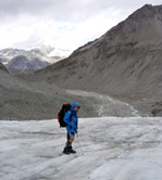 Descending Arolla Glacier below Col Collon