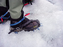 Crampons are essential on the glacier