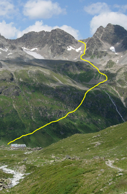 Jamtal Hutte with the route to Getschner Scharte.