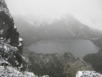 Heavy snow on the way down to Lake Oberon