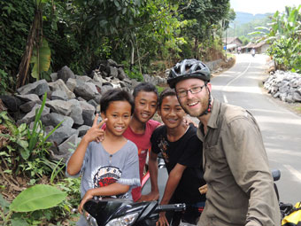 With some local kids - they helped me find my lost GPS