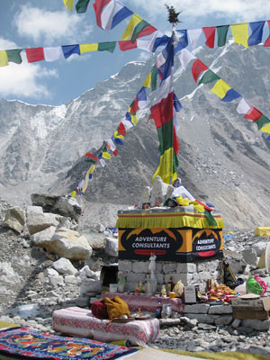 The Chorten at Adventure Consultants' Base Camp, where the group held their Puja ceremony