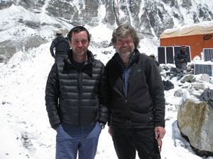 Simon Gower meeting Reinhold Messner at Base Camp