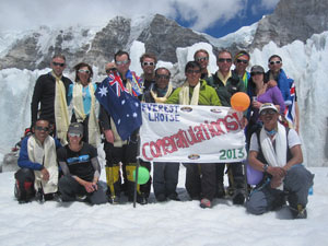 The Adventure Consultants team celebrates a successful 2013 Everest Expedition on return to Base Camp